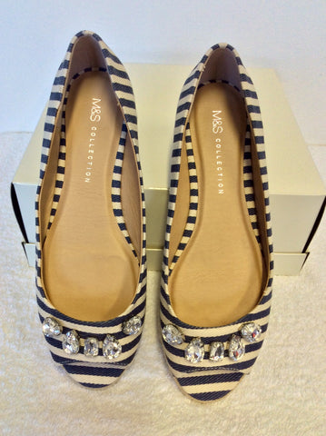 BRAND NEW MARKS & SPENCER BLUE & CREAM STRIPE OPEN TOE PUMPS SIZE 6/39