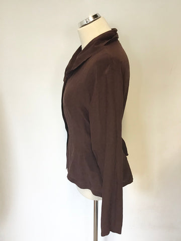 JIGSAW BROWN SILK TIE BACK BLOUSE SIZE 12