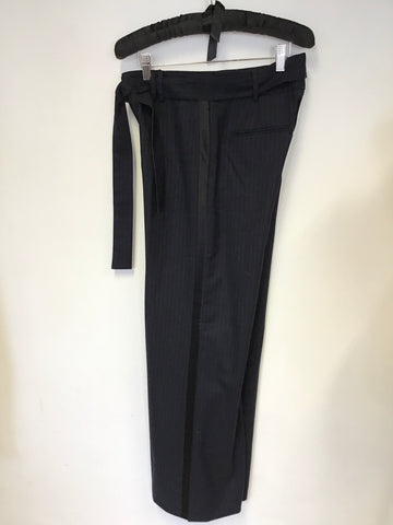 BRAND NEW ME+EM NAVY BLUE WOOL BLEND WIDE LEG TROUSERS WITH BELT SIZE 8