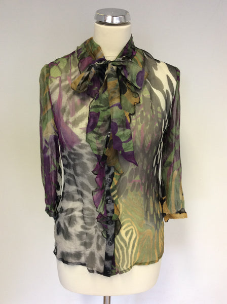BETTY BARCLAY MULTI COLOURED PRINT TIE NECK SILK BLOUSE SIZE 12
