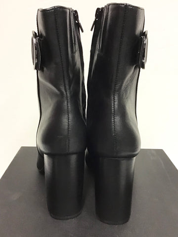 BRAND NEW MARKS & SPENCER BLACK LEATHER BUCKLE TRIM BOOTS SIZE 7.5/41