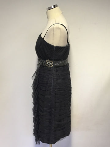 BRAND NEW MONSOON GREY NET OVERLAY EMBELLISHED STRAPPY/ STRAPLESS DRESS SIZE 14