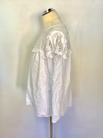WHITE STUFF WHITE EMBROIDERED & LACE TRIM LONG SLEEVE TOP SIZE 16