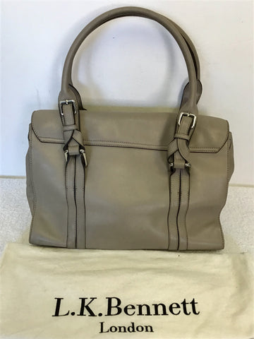 LK BENNETT EMMA TAUPE LEATHER SHOULDER BAG