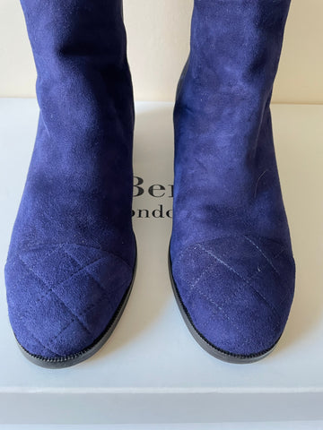 LK BENNETT BAMBRA DENIM BLUE SUEDE ELASTICATED PANEL KNEE LENGTH BOOTS SIZE 5/38