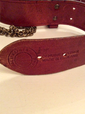 ALL SAINTS CHESTNUT BROWN LEATHER & BRASS CHAIN BELT SIZE M