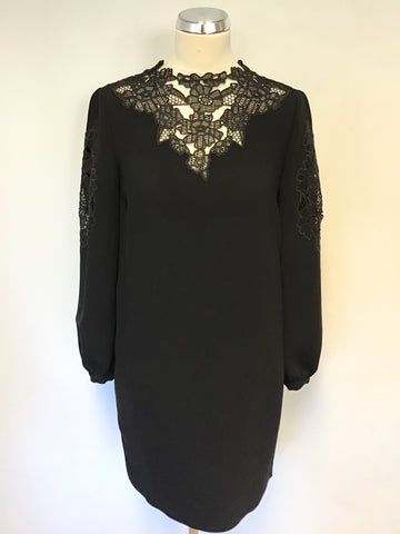 WHISTLES BLACK LACE TRIM SPECIAL OCCASION SHIFT DRESS SIZE 8