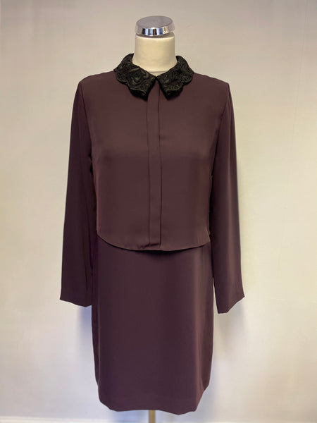 BRAND NEW REISS BERRY COALVILLE LACE COLLAR TRIM SHIFT DRESS SIZE 10