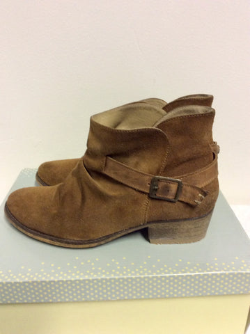 RADLEY OAKWOOD TAN SUEDE & LEATHER ANKLE BOOTS SIZE 6/39
