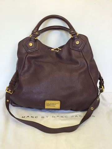 MARC BY MARC JACOBS Q FRAN BURGUNDY / WINE LARGE LEATHER SHOULDER BAG