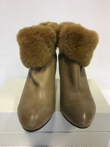 COMELY CAMEL LEATHER FUR TRIM ANKLE BOOTS SIZE 3.5/36