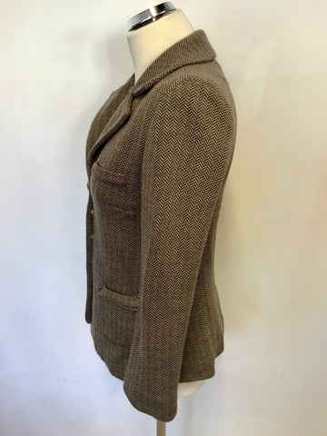 AVOCA ORIGIN BROWN HERRINGBONE WOOL BLEND JACKET SIZE 1 UK 8/10