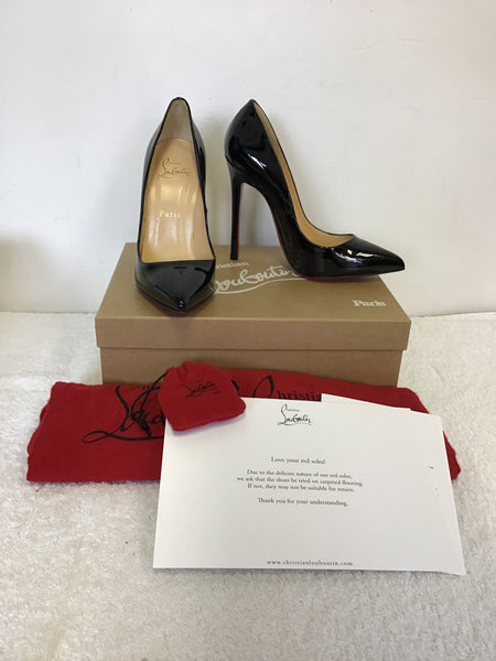 Brand New Christian Louboutin Pigalle 120 Black Patent Leather Heels Size 4 37 5