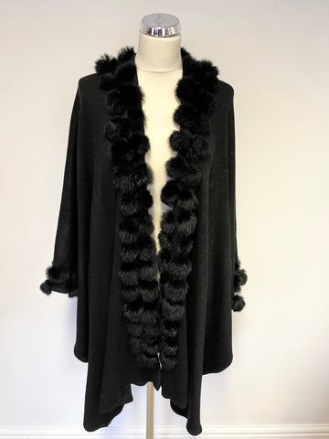 BRAND NEW BLACK KNIT CAPE/WRAP WITH RABBIT FUR TRIM ONE SIZE