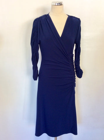 JOSEPH RIBKOFF BLUE STRETCH JERSEY RUCHED WRAP STYLE  DRESS SIZE 10