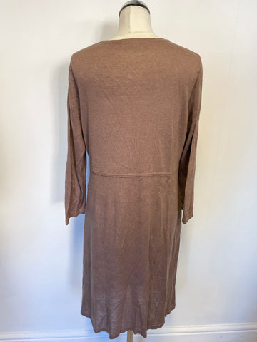 BODEN LIGHT BROWN SILK & LINEN BLEND V NECKLINE LONG CARDIGAN SIZE 16