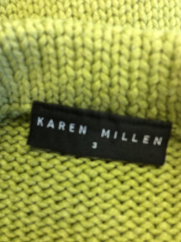 KAREN MILLEN LIME GREEN SLEEVELESS JUMPER SIZE 3 UK 12/14