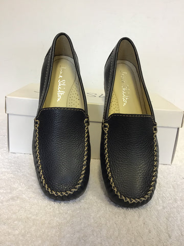 BRAND NEW JANE SHILTON ISABELLA NAVY BLUE LEATHER LOAFER FLATS SIZE 4/37