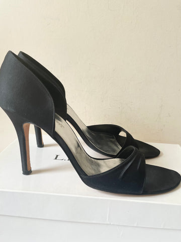 LK BENNETT BLACK SATIN OPEN TOE CUT OUT SIDE SPECIAL OCCASION HEELS SIZE 7.5/41