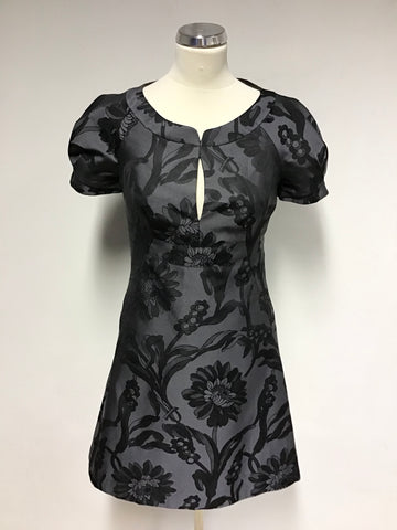 KAREN MILLEN BLACK & GREY FLORAL PRINT DRESS SIZE 10