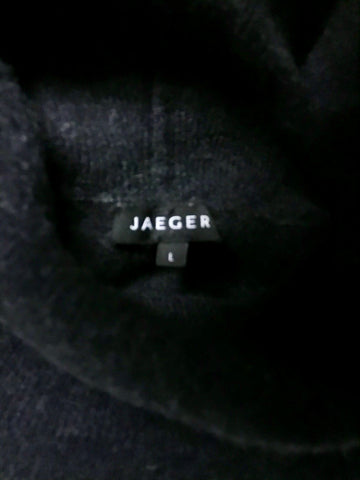 JAEGER DARK GREY WOOL & CASHMERE POLO NECK JUMPER SIZE L