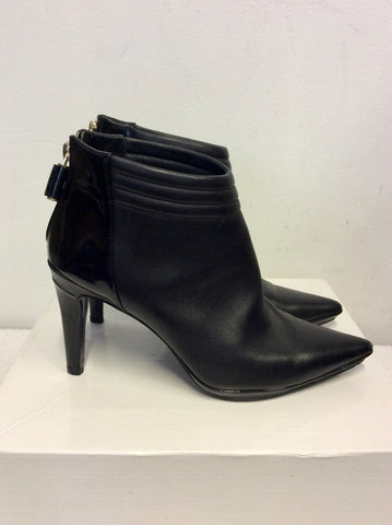 CALVIN KLEIN BLACK LEATHER ANKLE BOOTS SIZE 3.5/36
