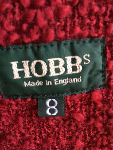 HOBBS DARK RED BOUCLE KNIT WOOL JACKET SIZE 8