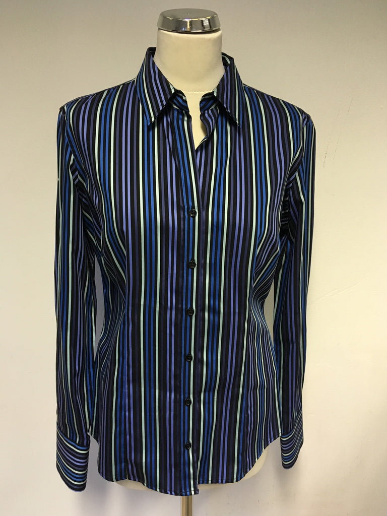 Brand New Austin Reed Teal Multi Stripe Cotton Shirt Size 12 Whispers Dress Agency