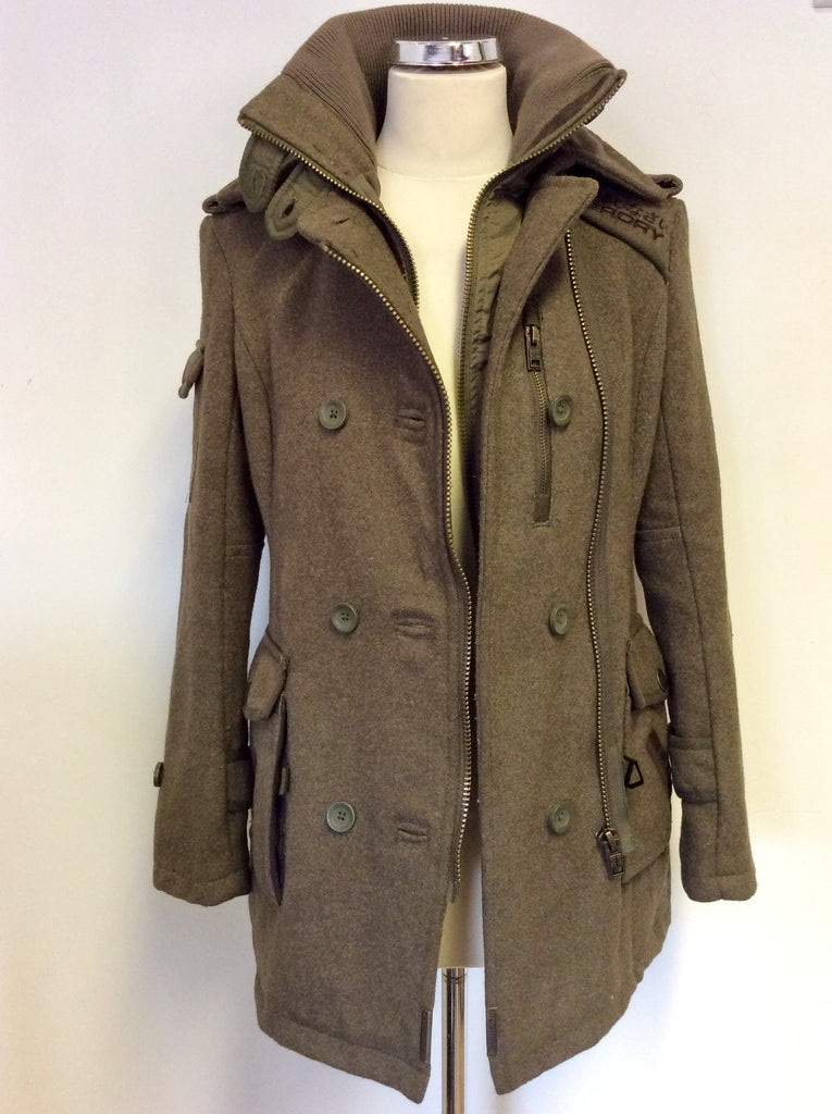 SUPERDRY ARMY GREEN WOOL BLEND REGIMENT COAT SIZE XS