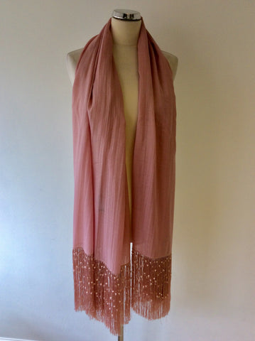 BRAND NEW FENN WRIGHT MANSON PINK SILK & WOOL PEARL FRINGED WRAP