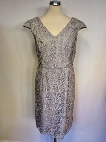 BRAND NEW GINA BACCONI SILVER GREY LACE SPECIAL OCCASION DRESS SIZE 18