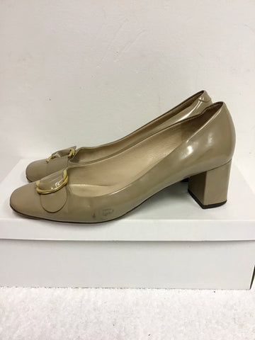 LK BENNETT TAUPE PATENT LEATHER BLOCK HEELS SIZE 7.5/41