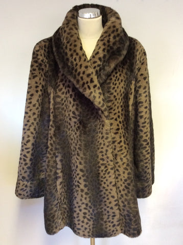 I MADISON BROWN LEOPARD PRINT FAUX FUR COAT SIZE L