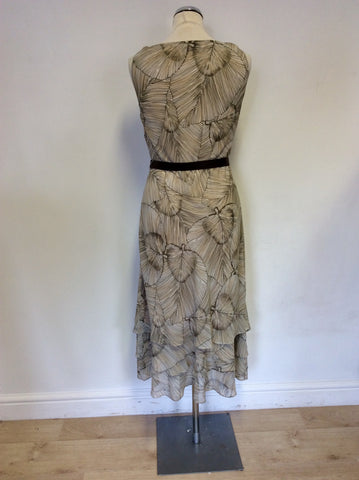 JACQUES VERT BROWN LEAF PRINT TIERED CALF LENGTH DRESS SIZE 12