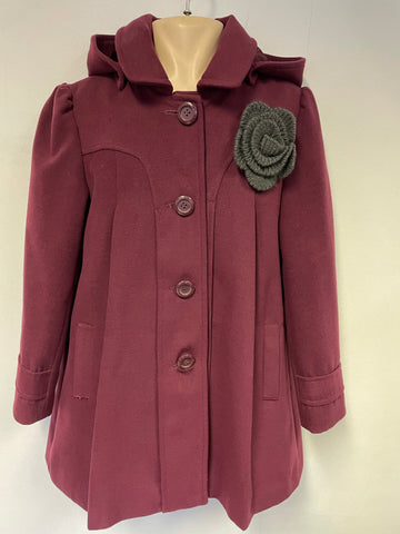 BRAND NEW MONSOON BURGUNDY DETACHABLE HOOD COAT WITH FLOWER BROACH AGE 11-12 YRS