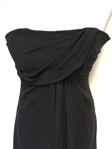 BRAND NEW MONSOON BLACK SILK STRAPLESS SPECIAL OCCASION DRESS SIZE 10