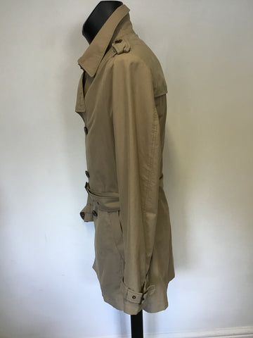 SISLEY BEIGE SHORT BELTED TRENCH COAT SIZE 50 UK 40 REG