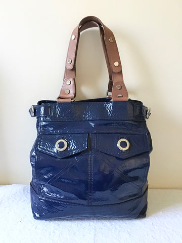 JAEGER NAVY BLUE PATENT LEATHER HAND/ SHOULDER TOTE BAG
