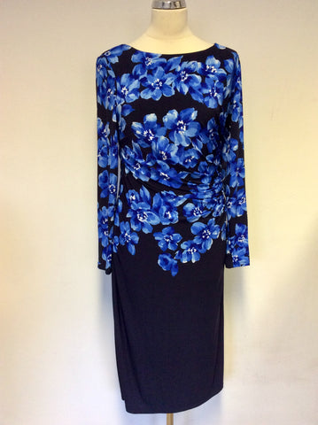 ARTIGIANO NAVY & BLUE FLORAL PRINT LONG SLEEVE STRETCH SPECIAL OCCASION DRESS SIZE 14