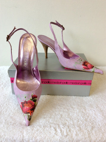 BRAND NEW MODI IN PELLE LILAC TEXTILE FLOWER PRINT SLINGBACK HEELS SIZE 7/40
