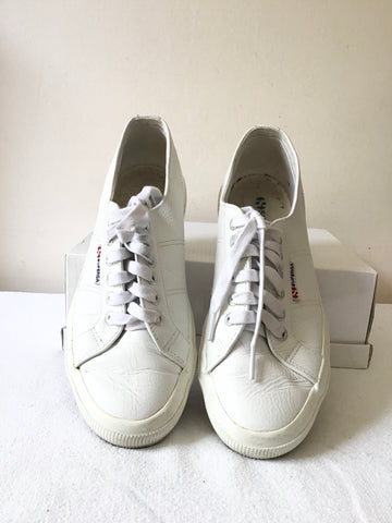 SUPERGRA S00AYWO WHITE  LEATHER PLIMSOLS/ TRAINERS SIZE  UK 6.5/40