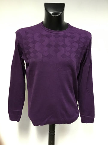 TED BAKER PURPLE DYMOJAC SILK BLEND CREW NECK JUMPER SIZE 5 UK L