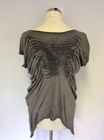 ALL SAINTS GREY PLEATED TILLY TEE TOP SIZE 6