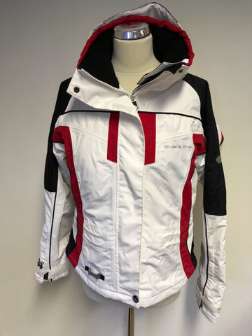 DARE2BE BLACK,RED & WHITE SKI JACKET & 2 PAIRS OF SKI TROUSERS SIZE 12
