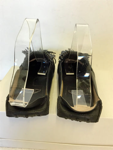 TODS BLACK LEATHER TASSEL TRIM MULES SIZE 5/38