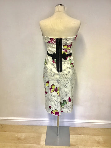 KAREN MILLEN WHITE & MULTI COLOURED BUTTERFLY PRINT STRAPLESS DRESS SIZE 10