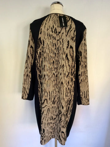 BRAND NEW BARBARA LEBEK BLACK & BROWN PRINT STRETCH DRESS SIZE 18