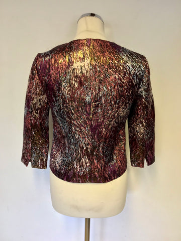 LK BENNETT GOLDINO MULTI COLOURED PRINT SILK BLEND TOP SIZE 8