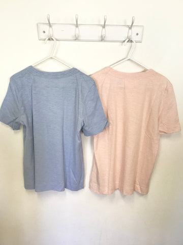 2 X WHISTLES LIGHT BLUE & PINK COTTON SHORT SLEEVE T SHIRTS SIZE S