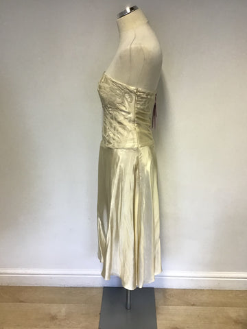 BRAND NEW MONSOON IVORY SILK STRAPLESS/ STRAPPY SPECIAL OCCASION  DRESS SIZE 10